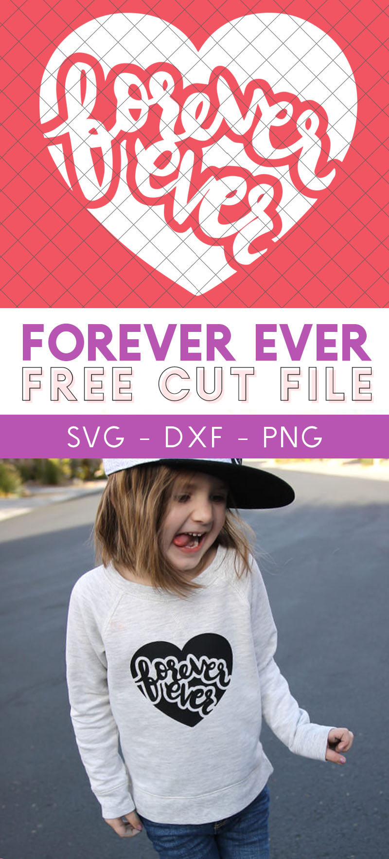 Free hand lettered forever ever heart svg cut file for Valentine's Day