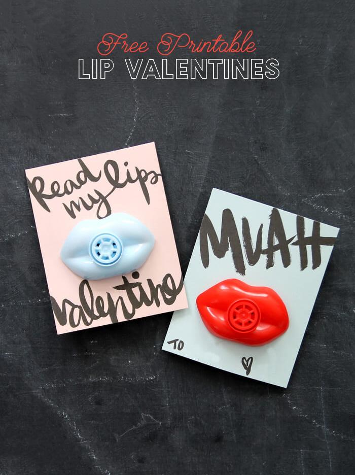 free printable lip valentines - so cute!