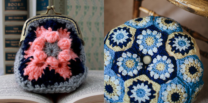 blog hop crochet along hexagon projects - coin purse and floor pouf