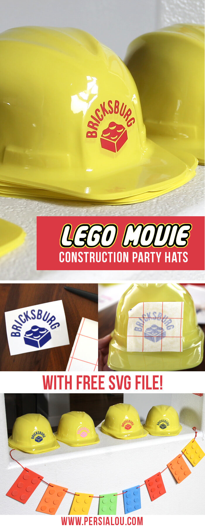 """How cute! Love these """"Bricksburg"""" Lego Movie constructions hats! Perfect for a Lego party - there's a free svg cut file for the Silhouette"""