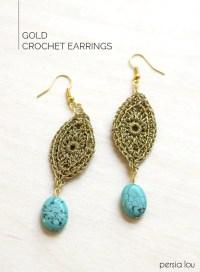 DIY Gold Crochet Earrings - Persia Lou