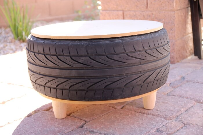 DIY Tire Coffee Table base without rope wrapped around it