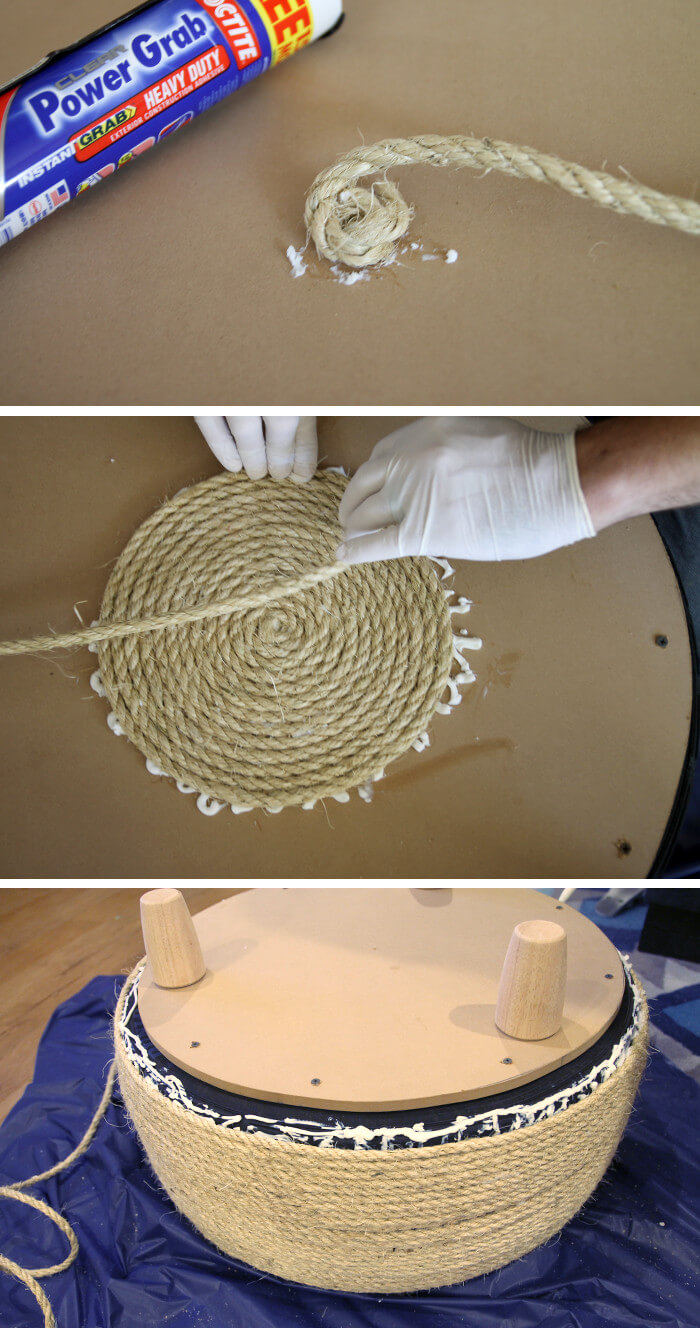 wrapping rope around tire table
