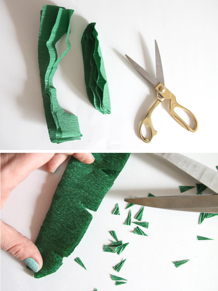 cutting crepe paper leaves