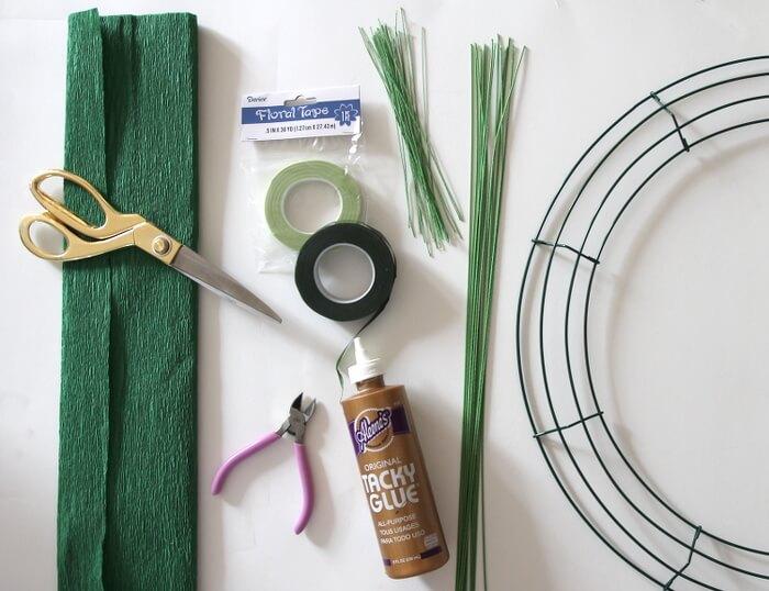 crepe paper banana leaf wreath supplies