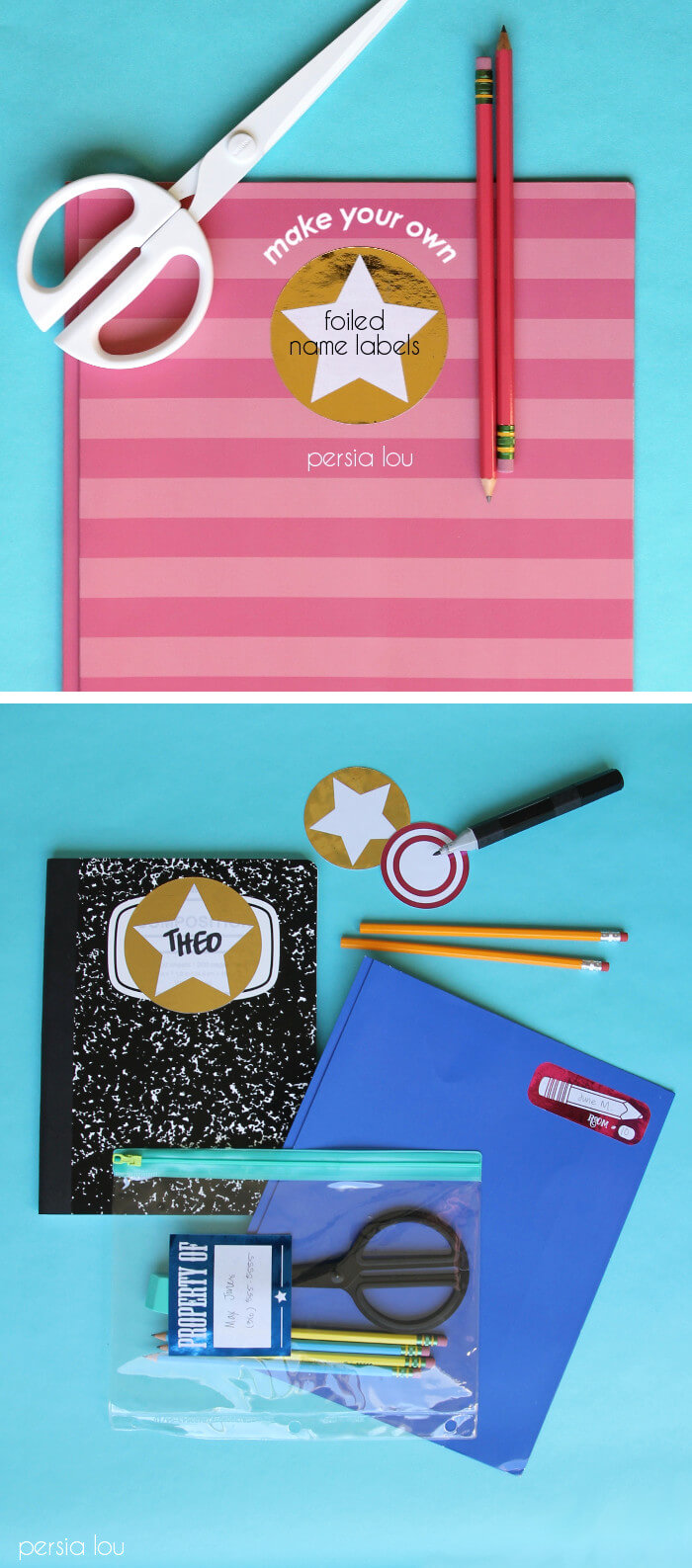 make your own foiled name labels - free download!