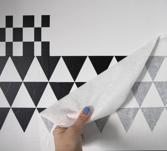 DIY geometric vinyl accent wall