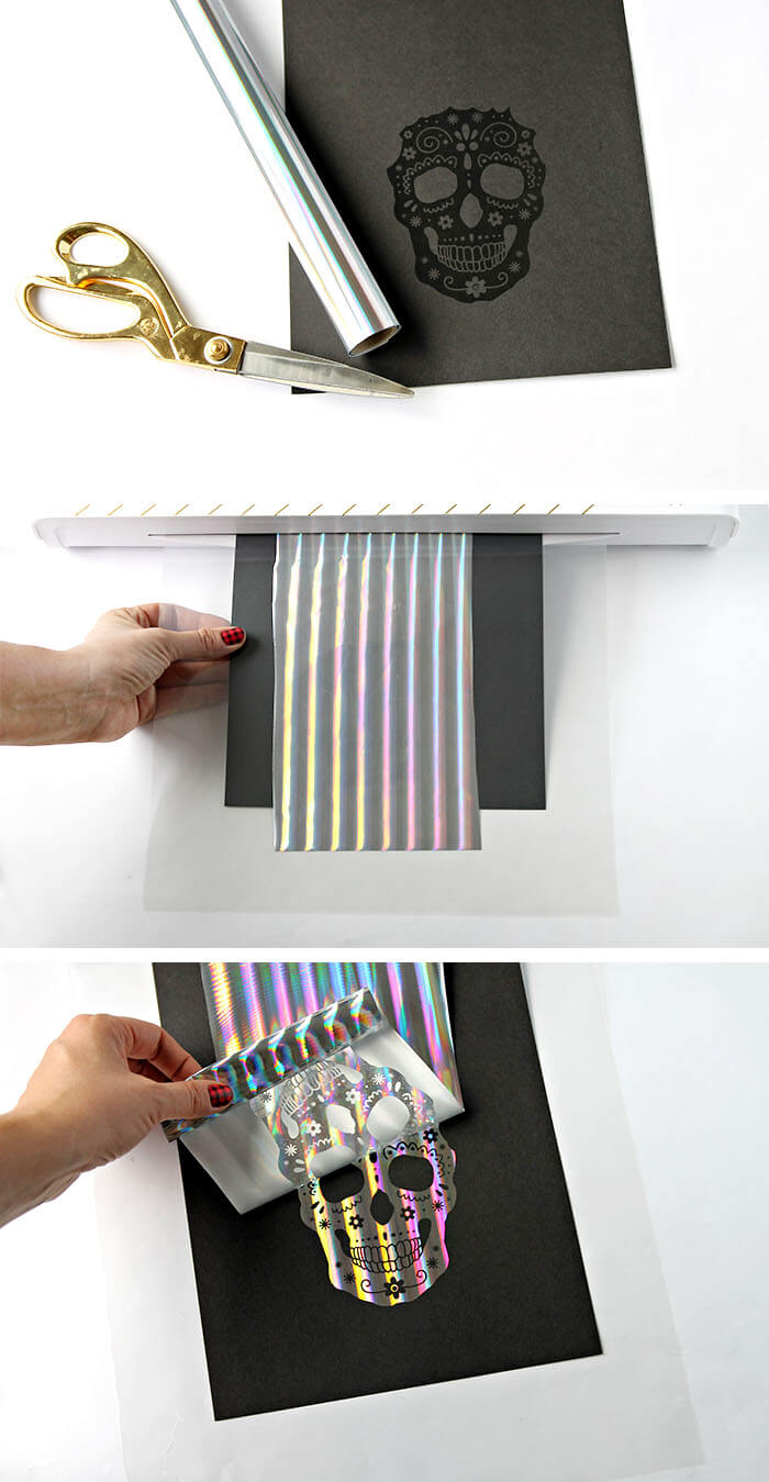 how to make foiled sugar skull prints