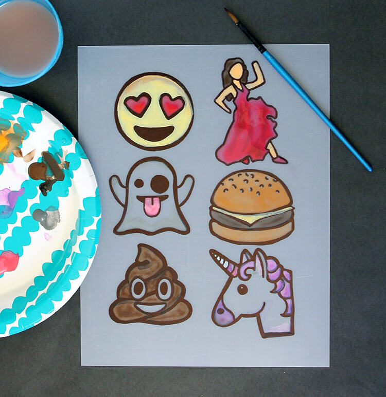 Make your own emoji lapel pins from shrink plastic. So fun to make, wear, and gift! Free printable cards for gifting.