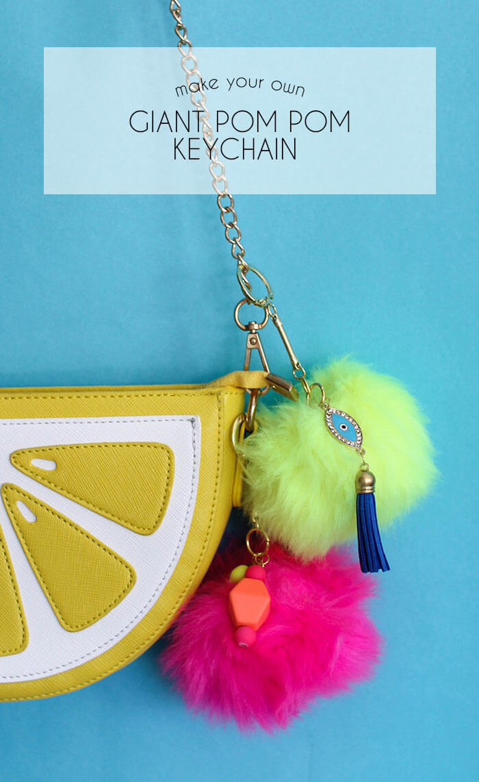 make your own giant pom pom keychain - a fun, quick, trendy craft