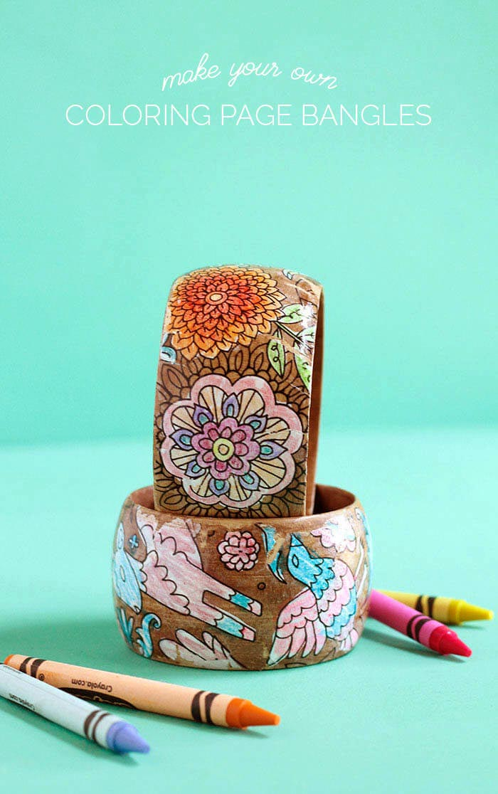 diy coloring page bracelets - mother's day gift idea for kids to make