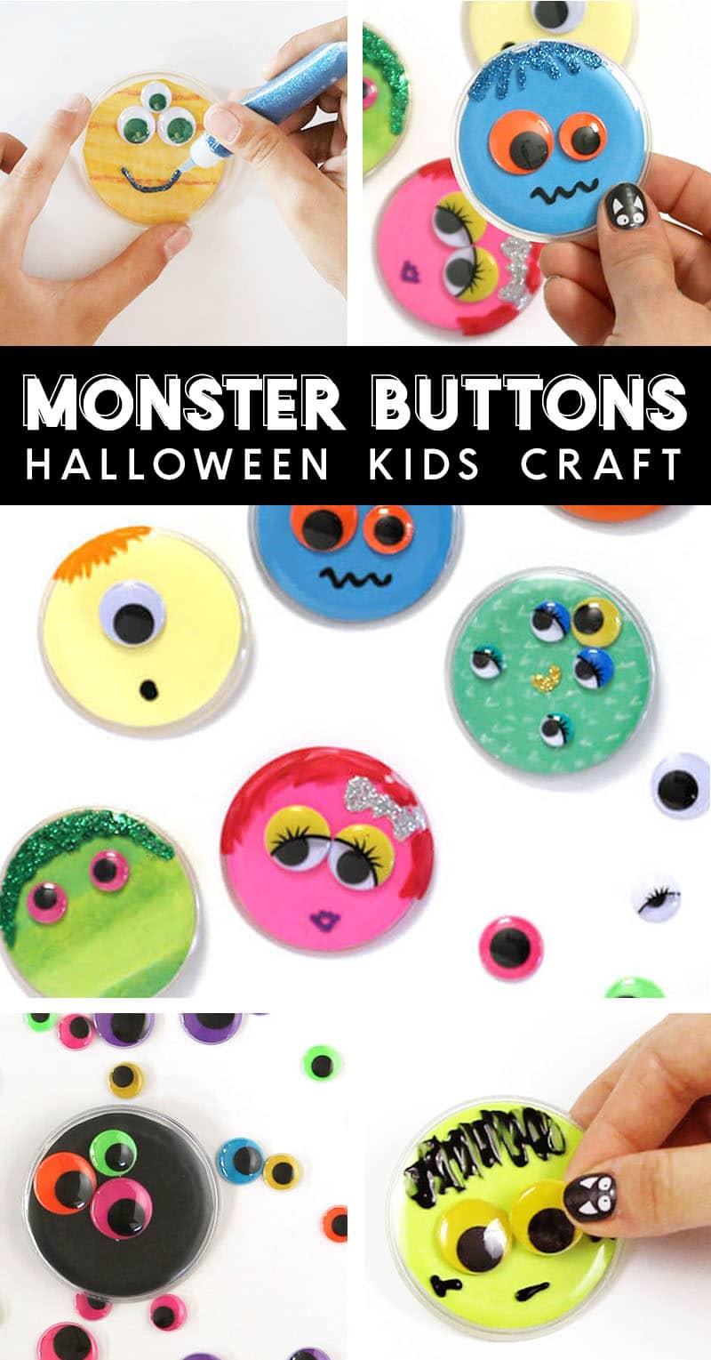diy monster buttons halloween kids craft idea