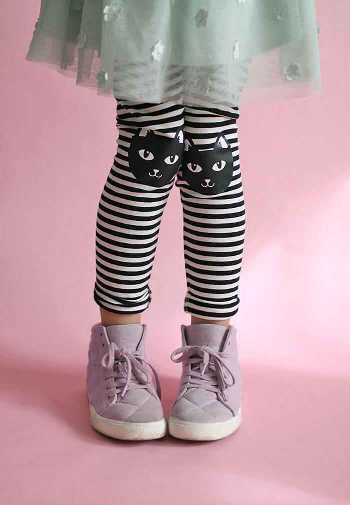 DIY cat knee patch leggings - free cut file - these are adorable!