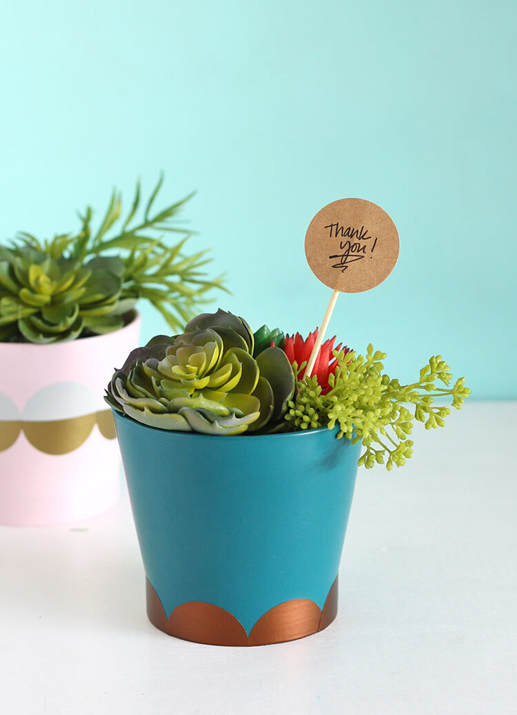 Super simple DIY Modern Planter - give a plain planter a fun upgrade in just minutes, no special tools required.
