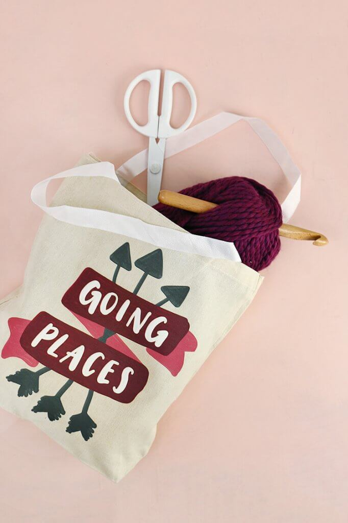 """DIY tote bag - learn how to make your own """"going places"""" tote - free downloadable design"""