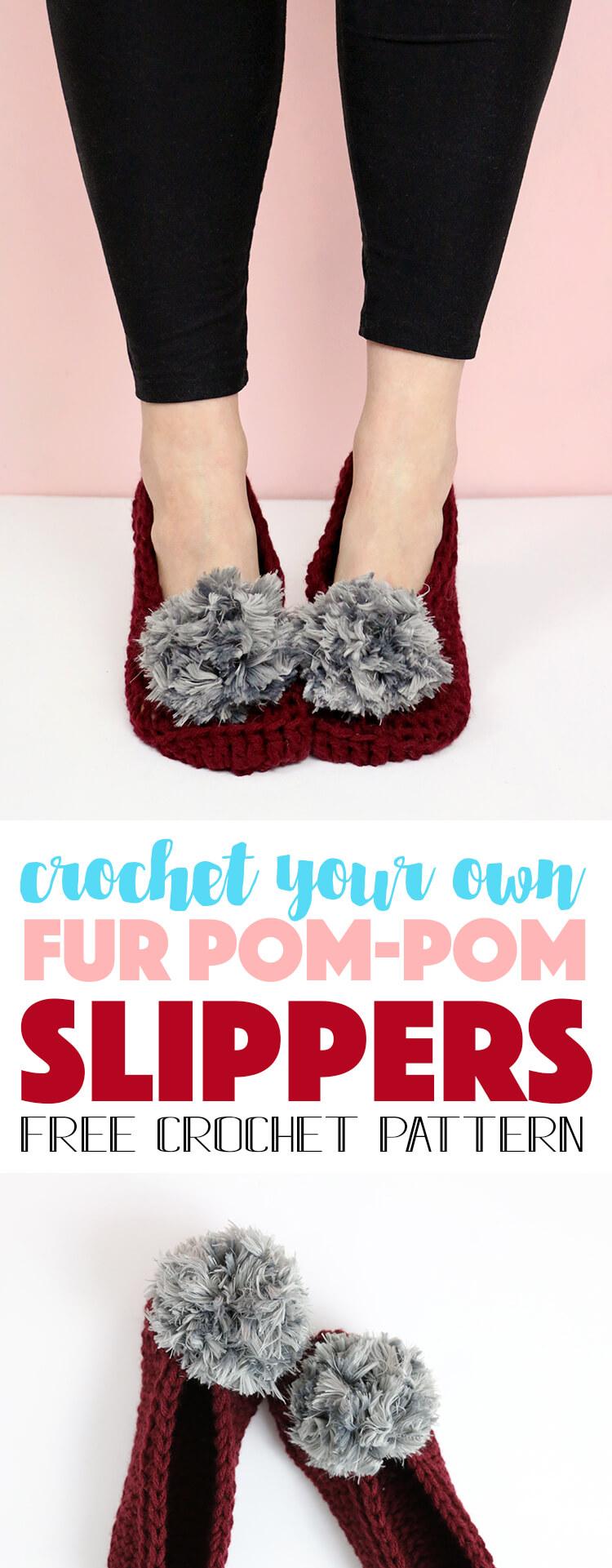 how to crochet slippers - free fur pom-pom slippers pattern