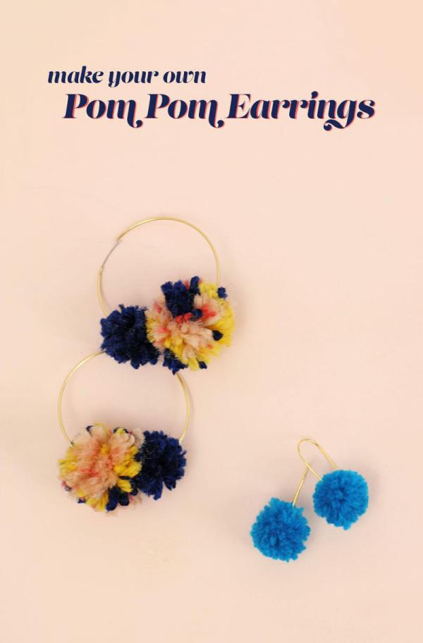 learn how to make your own DIY pom pom earrings - so cute!