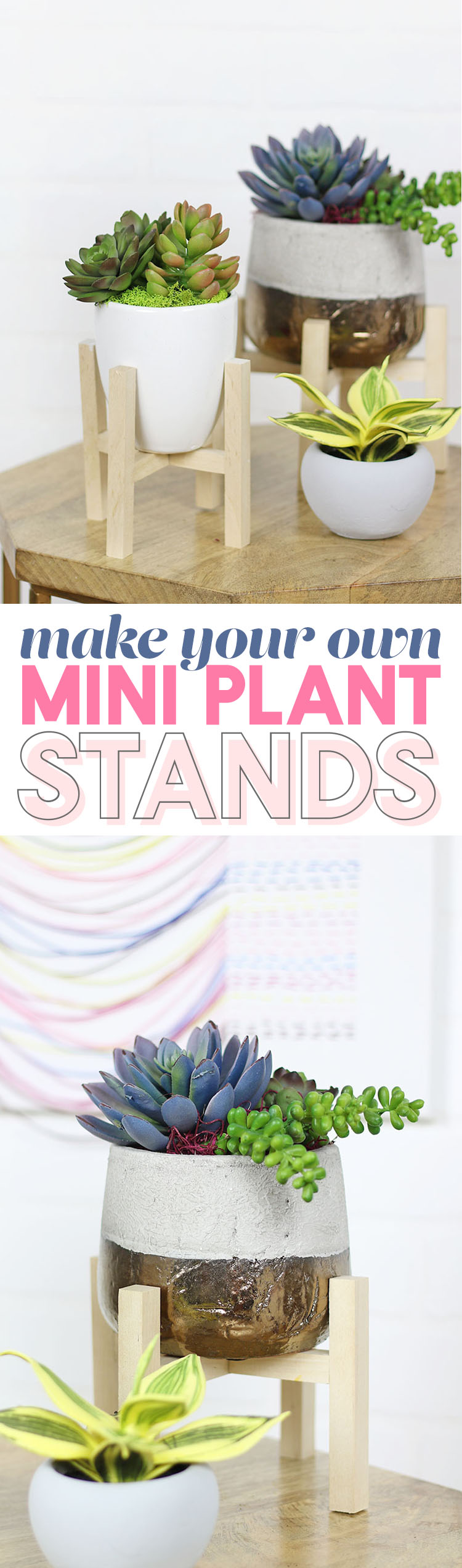 DIY Mini Plant Stand - make your own modern mini plant stand