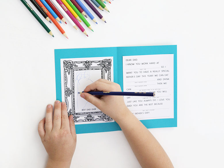 draw picture in father's day coloring card for kids