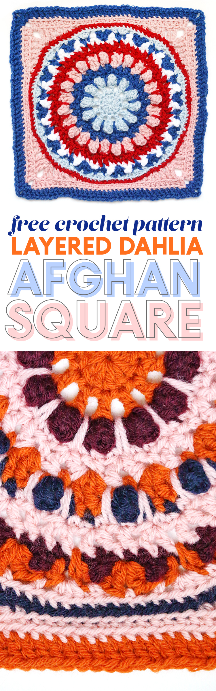 the layered dahlia free 12 inch afghan square pattern from persia lou - written pattern and photo tutorial