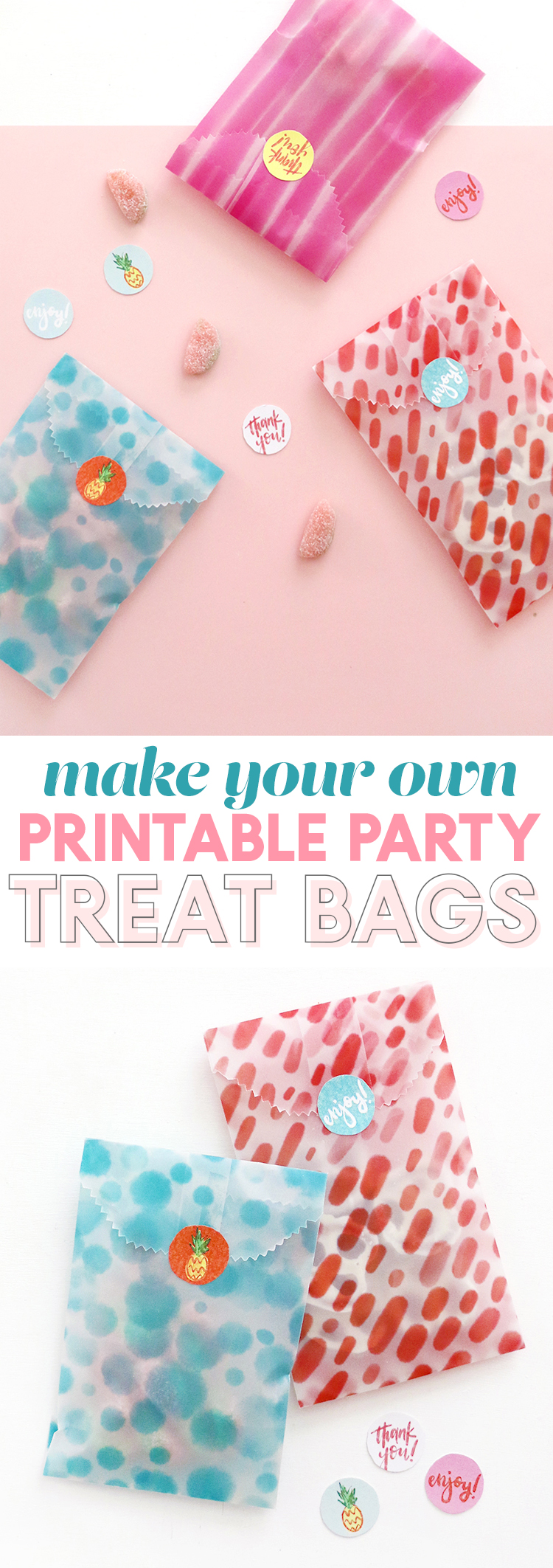 make your own goodie bags! diy printable treat bags - free paper and sticker downloads