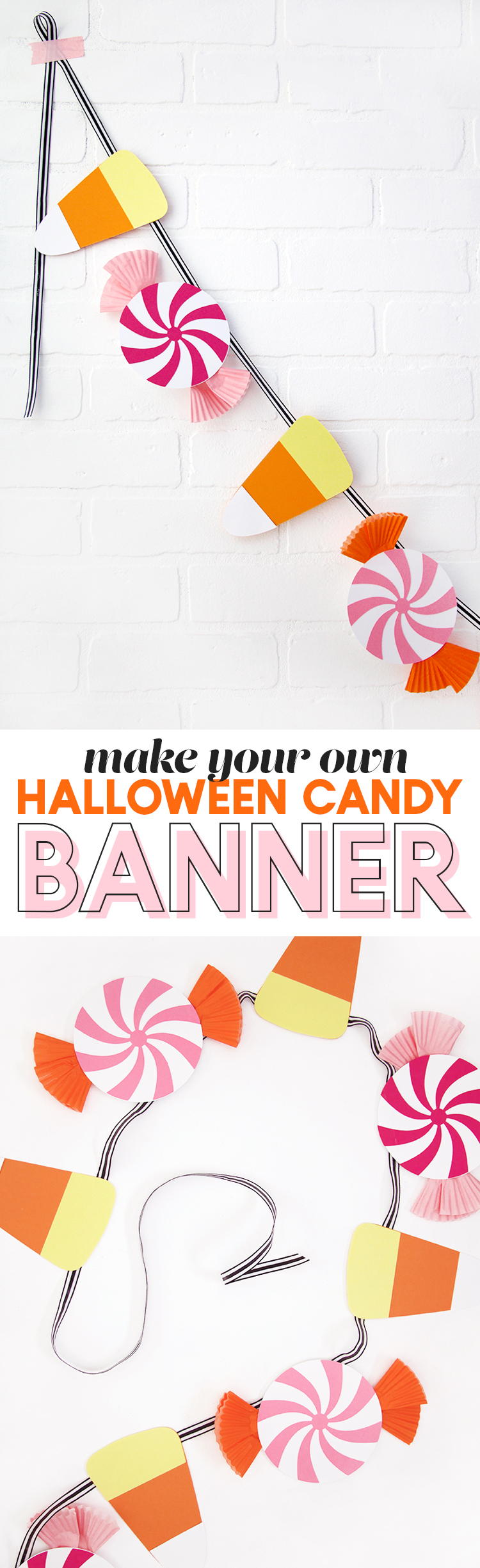 diy halloween candy banner - cute garland with free cut files and templates