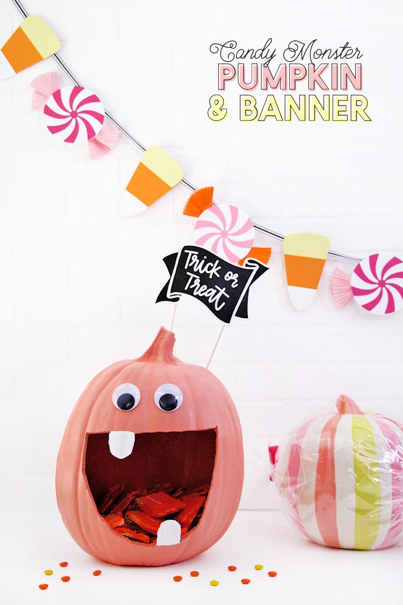 cute candy halloween decor - diy pumpkin candy bowl and diy halloween candy banner