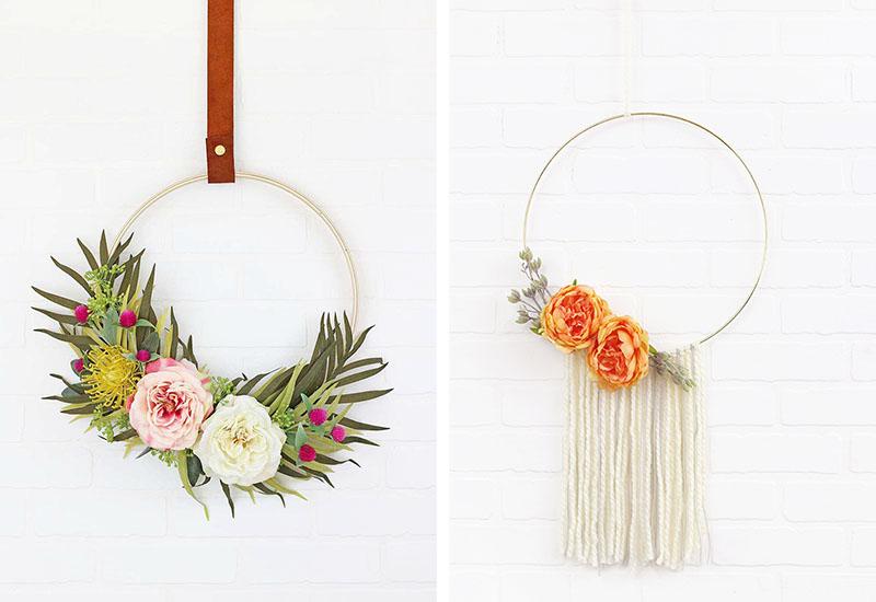 modern spring hoop wreath and modern fall hoop wreath