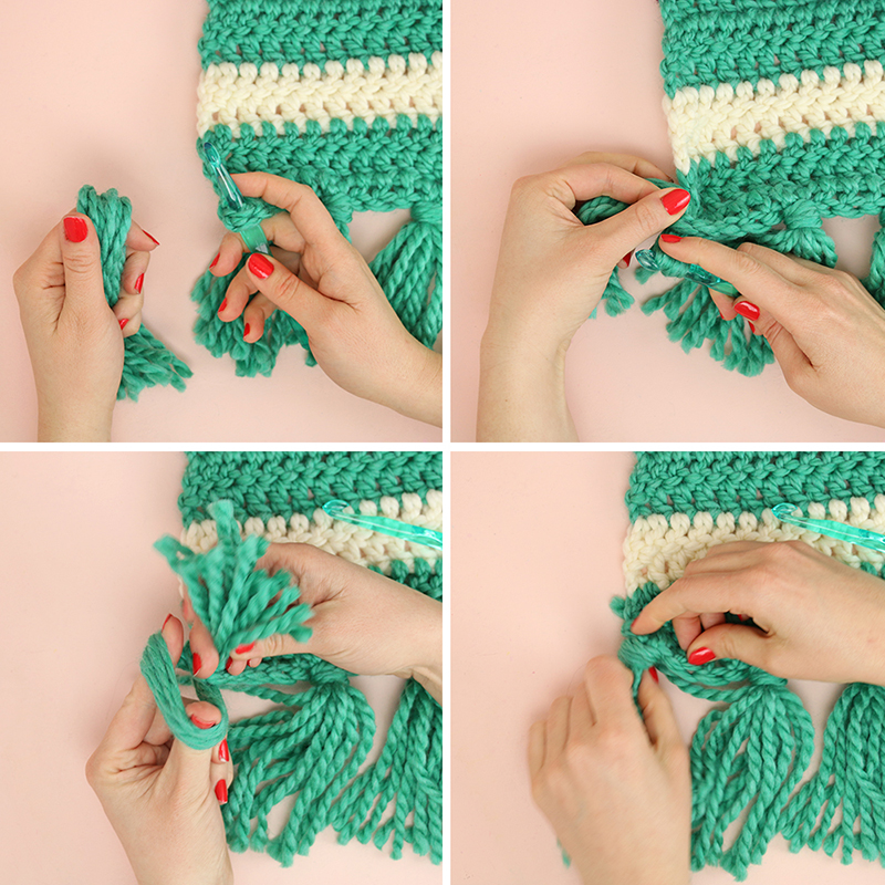how to add tassels to a crochet afghan