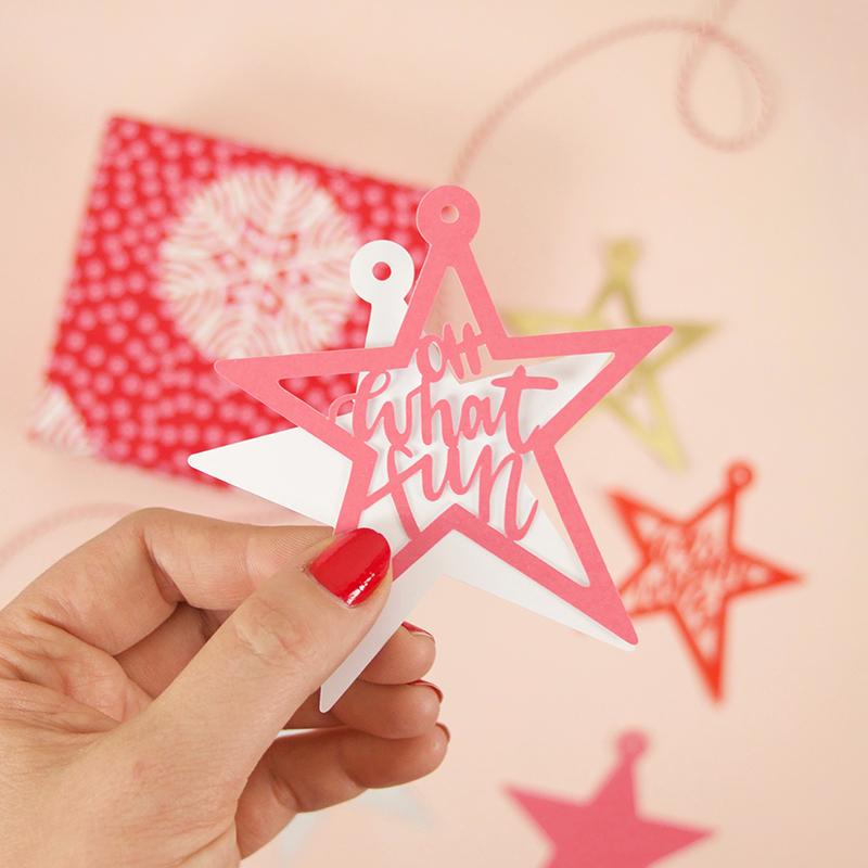 assemble paper cut christmas tags - svg cut file bundle
