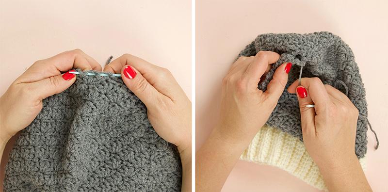 close up crochet beanie top