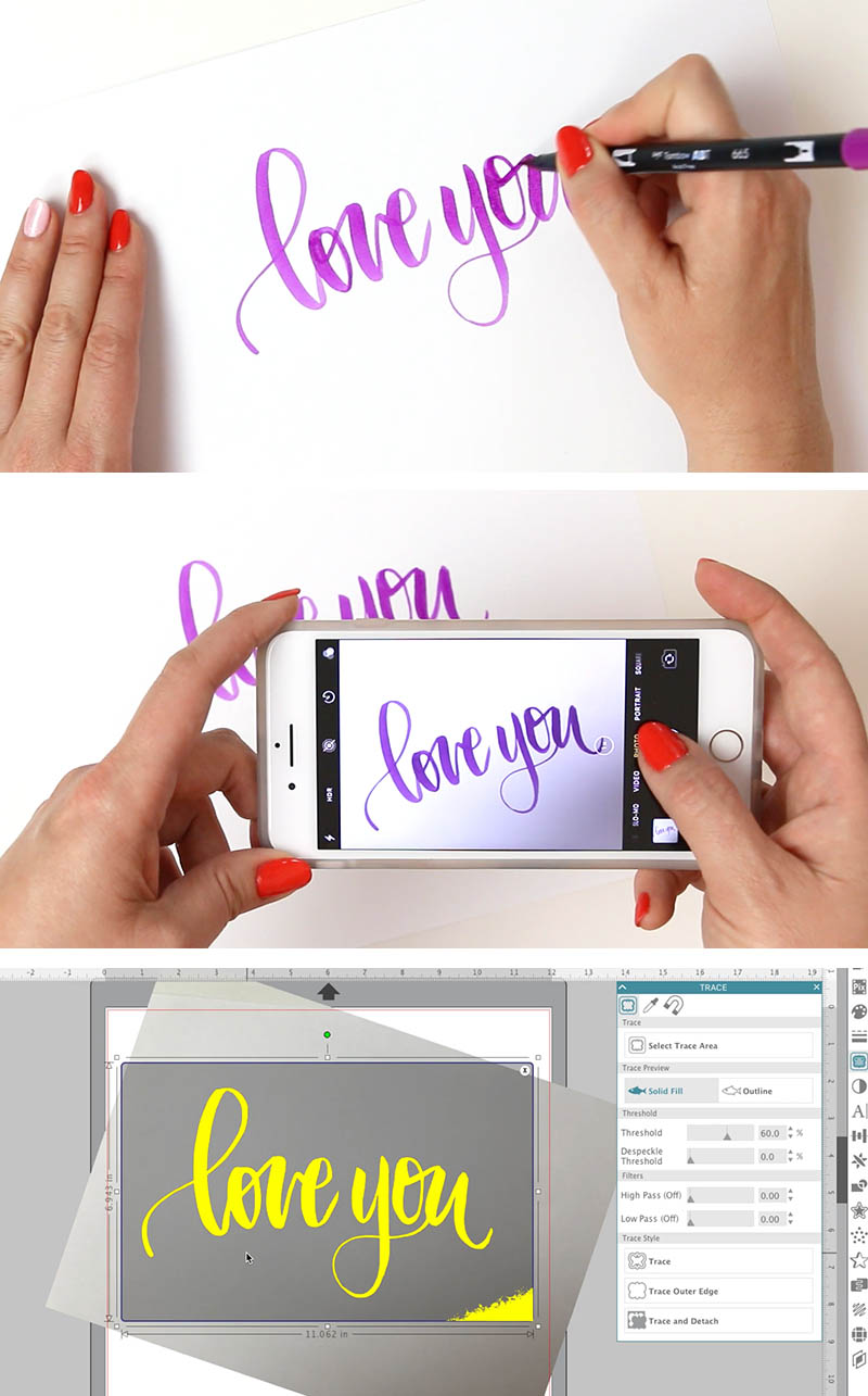 turn hand writing or drawing into cut file silhouette