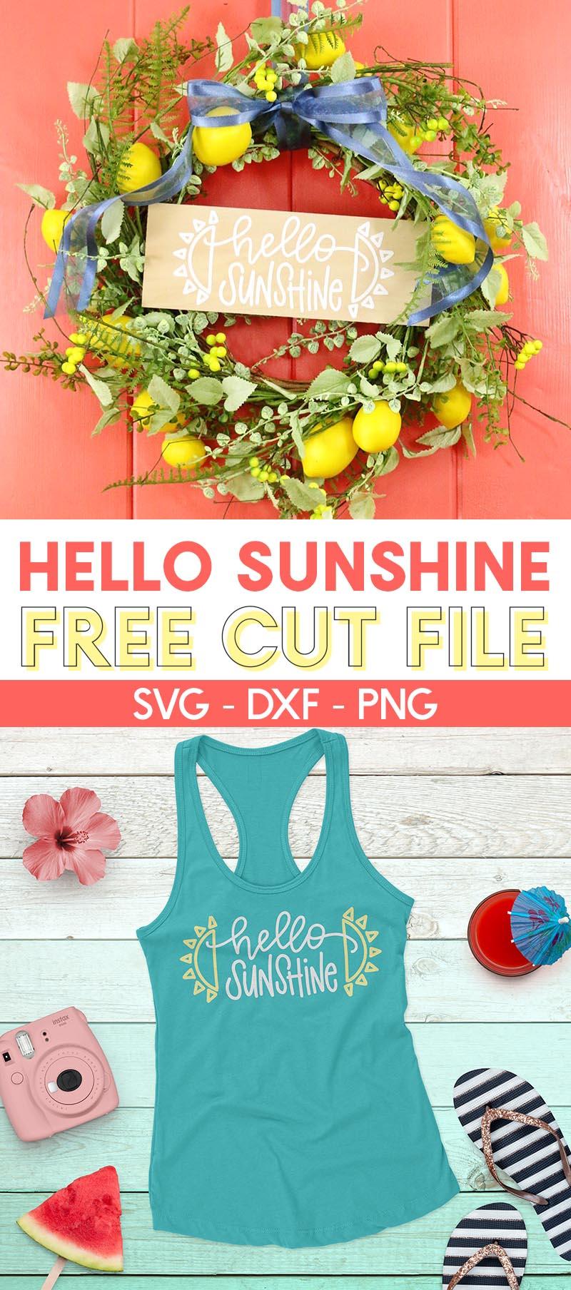 free hello sunshine svg cut file