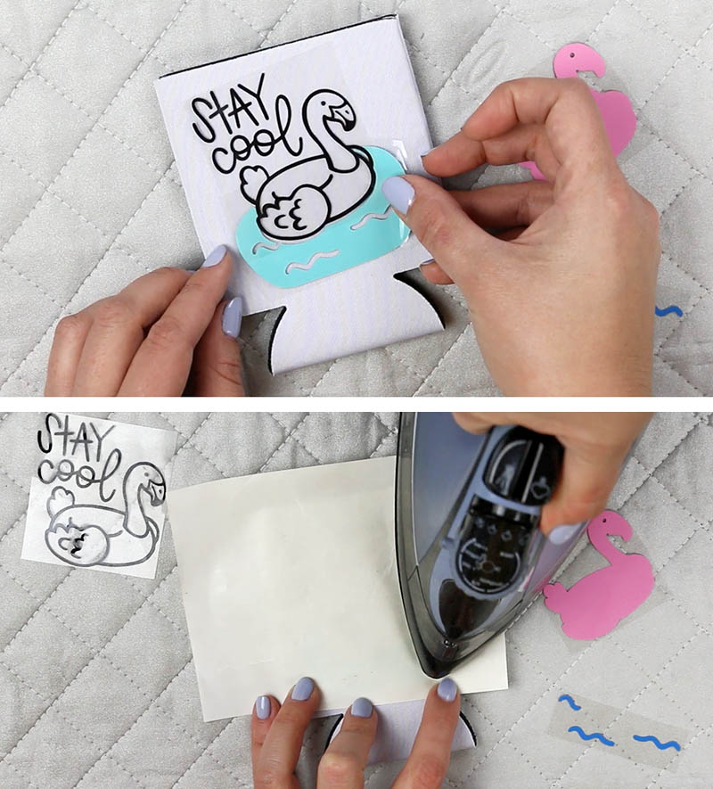 how to use iron on vinyl with soda koozies