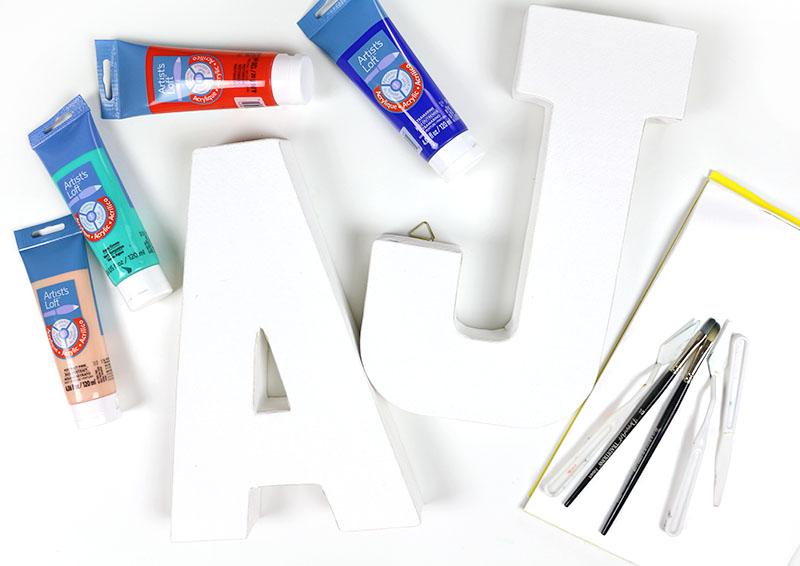 diy brushstroke monogram supplies