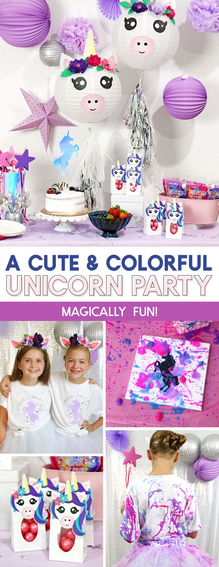 a cute and colorful unicorn party with goblies play paint