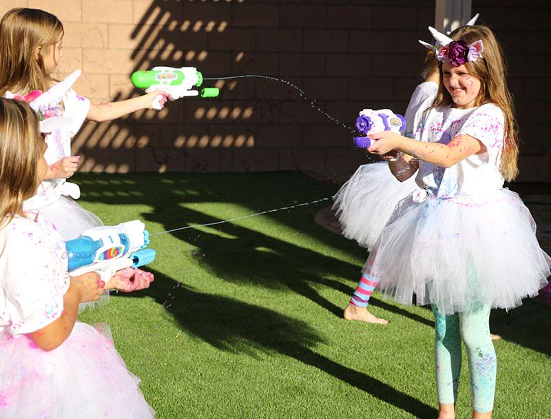 unicorn party paint fight goblies paint gun