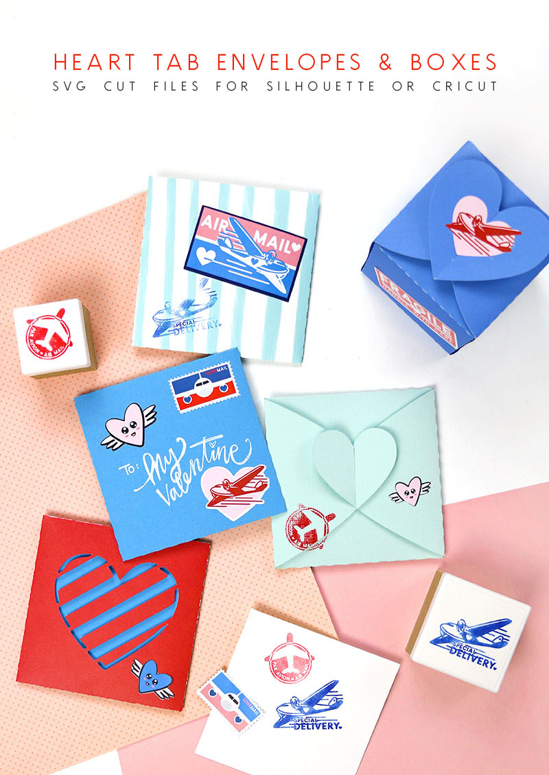 heart tab envelopes and boxes svg cut files for silhouette or cricut