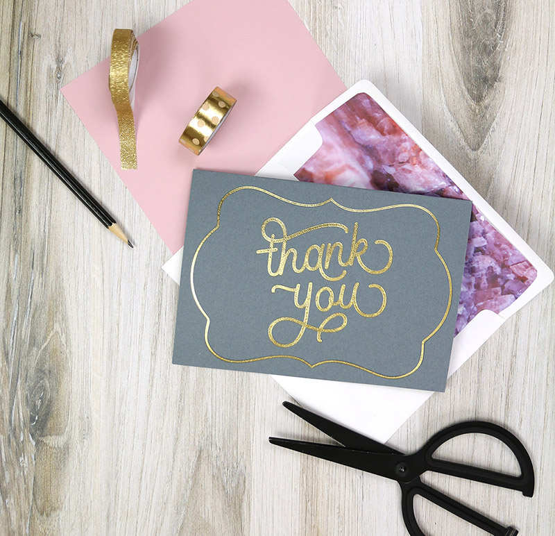 finished thank you card made with fonts in silhouette studio