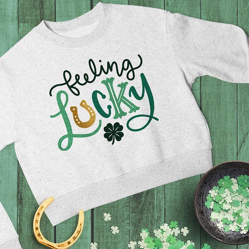 feeling lucky st patricks day svg cut file design on sweatshirt