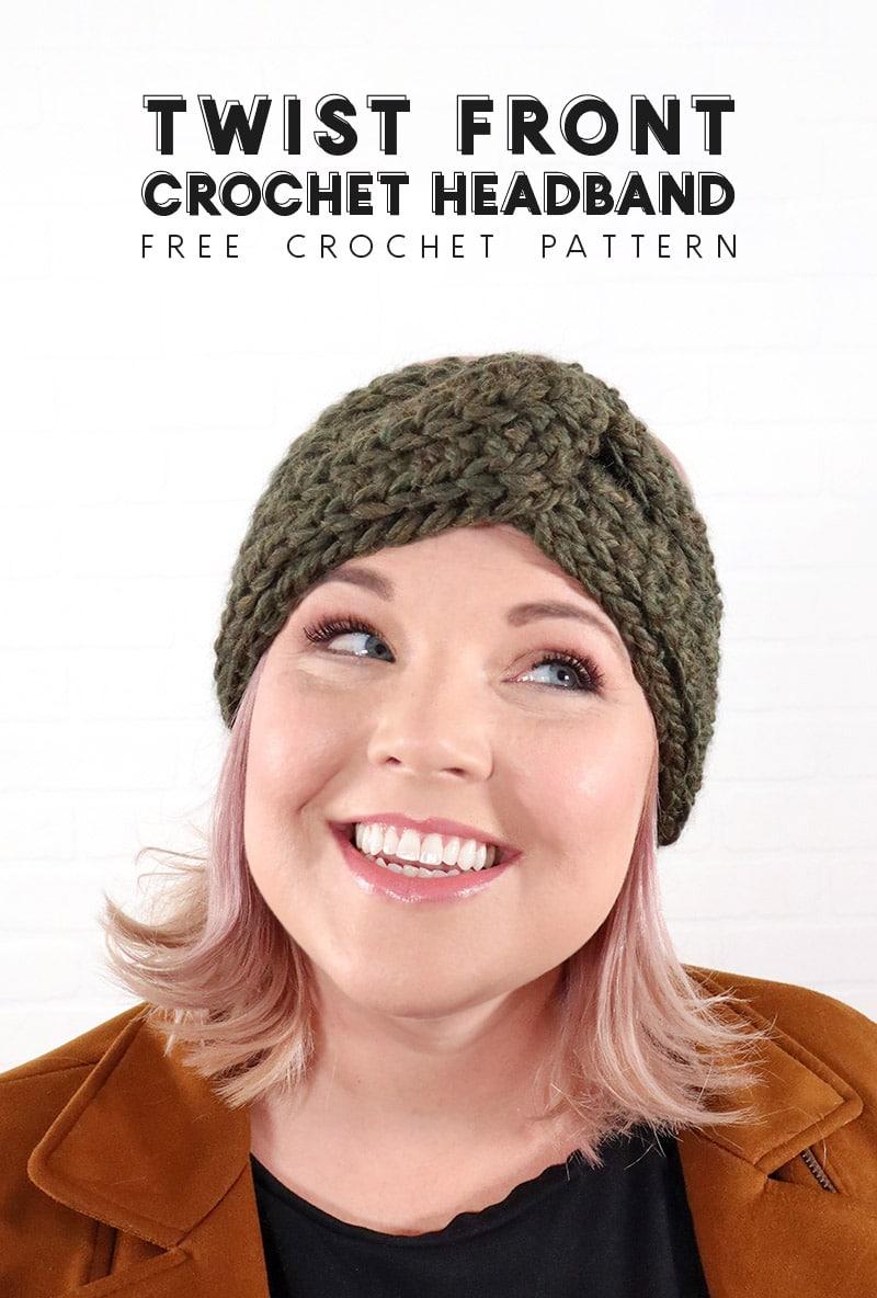 twist front crochet headband pattern