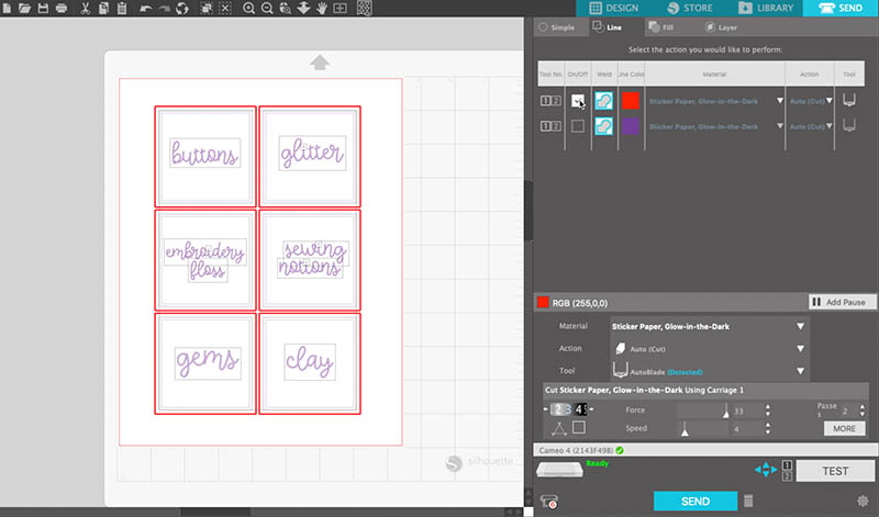 Cut settings for sketching and cutting by line color in the Silhouette Studio software.