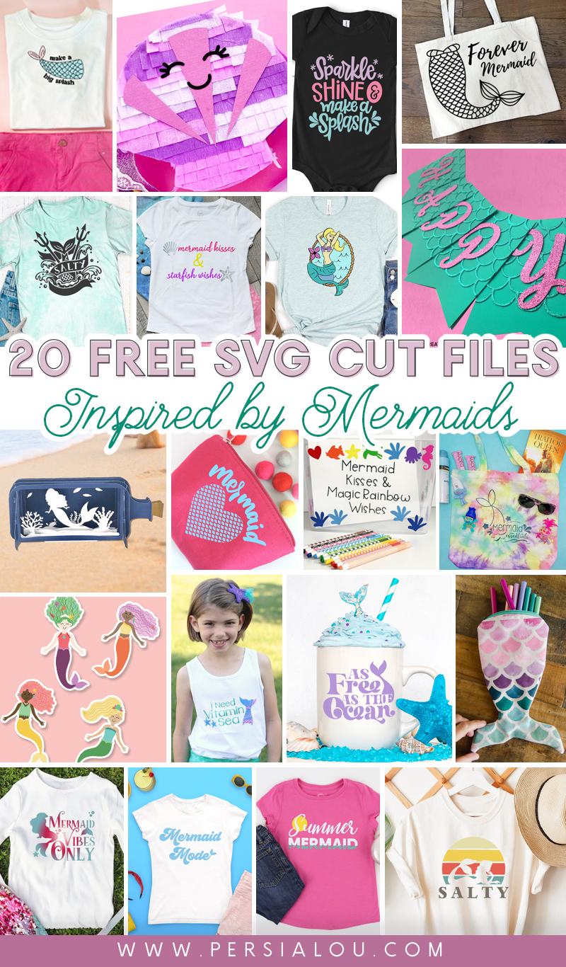 collage of 20 mermaid svg cut file craft projects