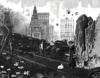 Trainwreck on account of rabbits (collage, 2012)