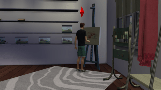 Wyatt working on a painting while admiring his growing collection.