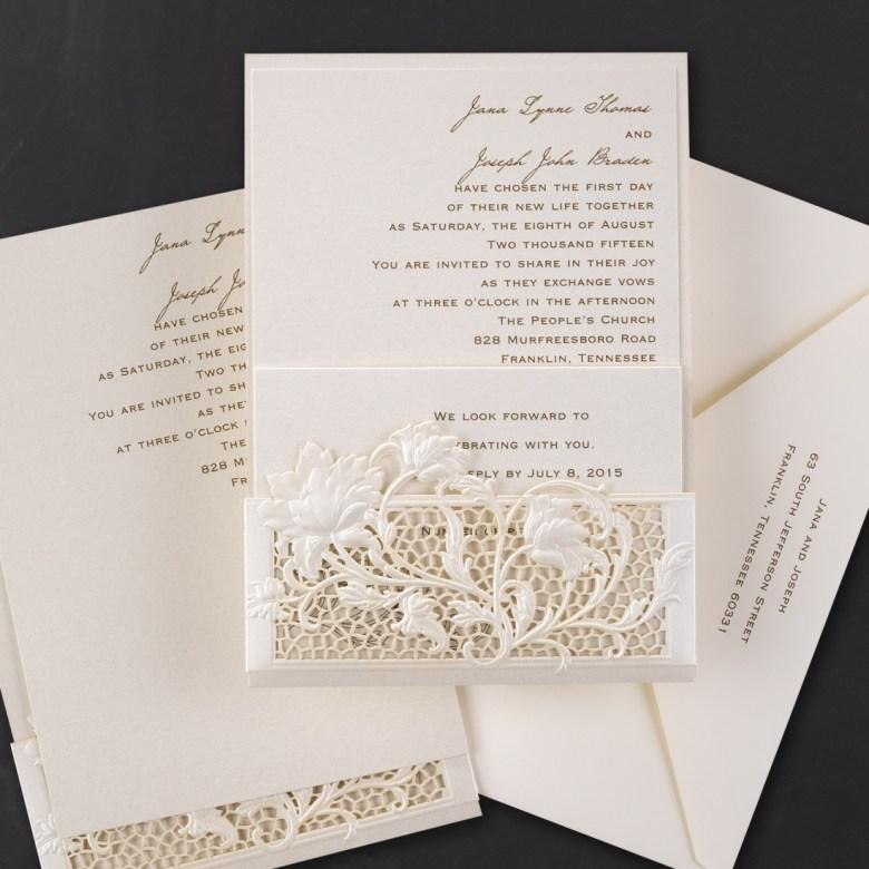 lace pocket invitation laser cut
