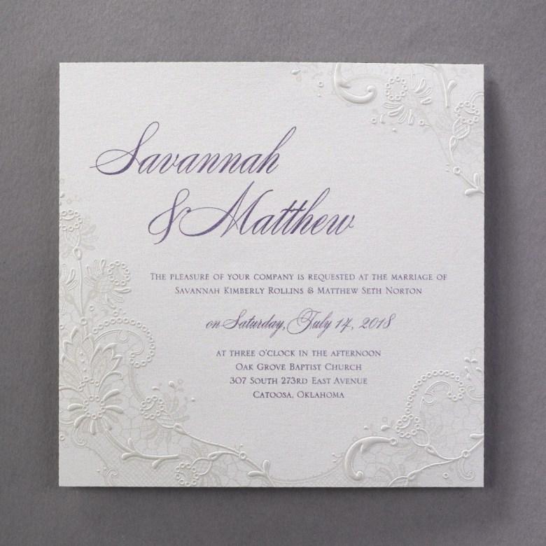 lace invitation embossed elegant