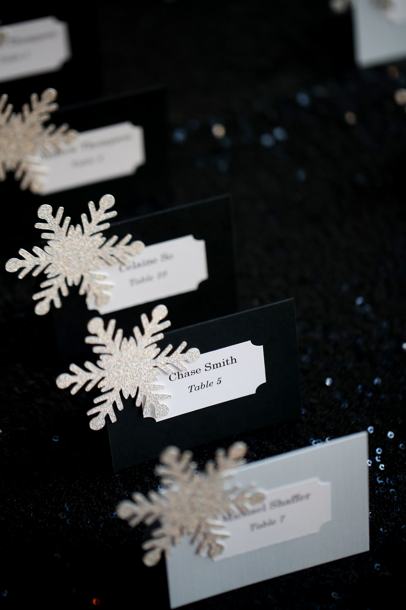 custom snowflake place cards