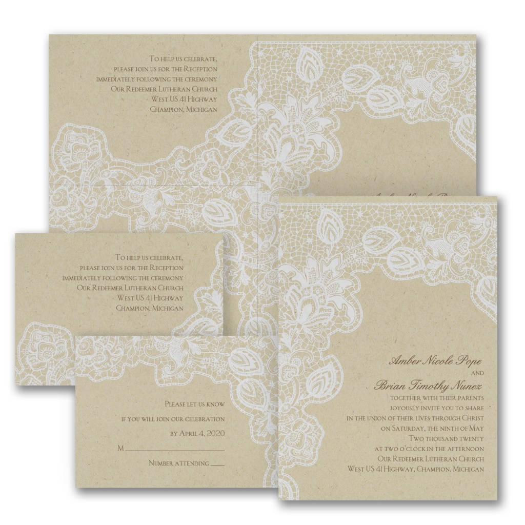 antique lace invitation