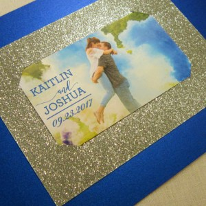 royal blue silver glitter save the date